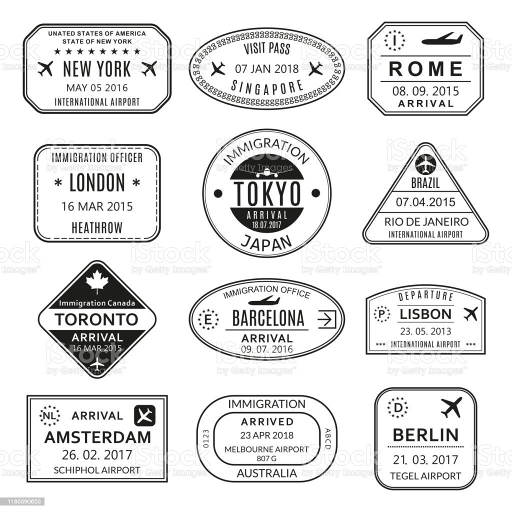 Passport stamp set. Different countries airport visa stamp. Custom...