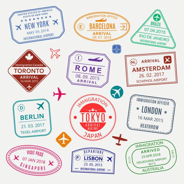 護照印章集。不同國家/地區的機場簽證印章。自訂控制項緩存。紐約,羅馬,阿姆斯特丹,倫敦,巴賽隆納,東京,新加坡,里斯本,柏林移民標誌。向量插圖。 - travel 幅插畫檔、美工圖案、卡通及圖標