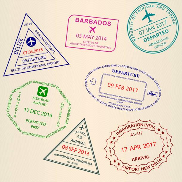 여권 스탬프 세트. 국제 공항 비자 및 사용자 지정 우표. 벡터 그림입니다. - 자카르타 stock illustrations