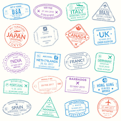Passport stamp set. Visa stamps for travel. International airport grunge sign. Immigration, arrival and departure symbols with different cities and countries. Vector illustration.