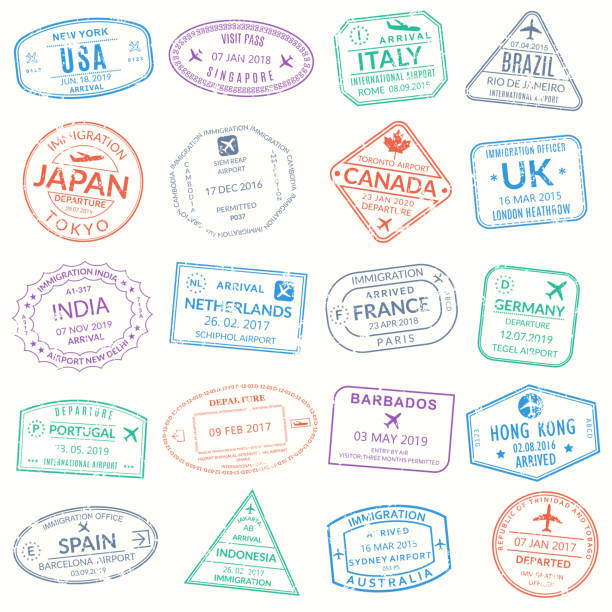 Passport stamp set. Visa stamps for travel. International airport grunge sign. Immigration, arrival and departure symbols with different cities and countries. Vector illustration. Passport stamp set. Visa stamps for travel. International airport grunge sign. Immigration, arrival and departure symbols with different cities and countries. Vector illustration. airport borders stock illustrations