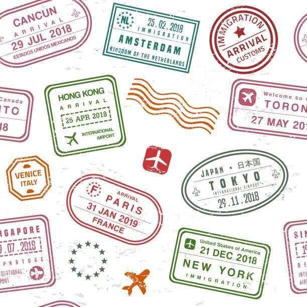 ilustrações, clipart, desenhos animados e ícones de textura de carimbo de passaporte - passaporte e visto