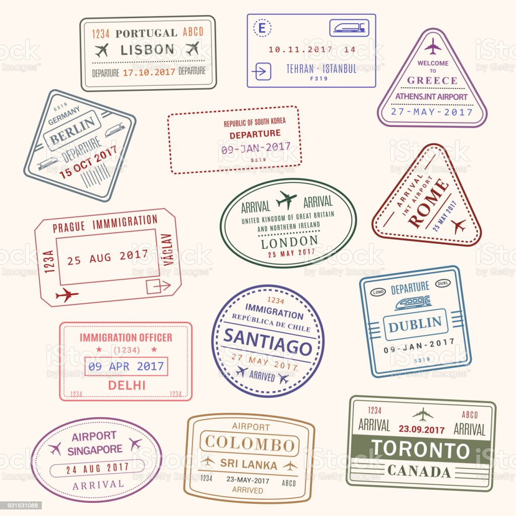 Passport stamp vector city and country icons set vector art illustration