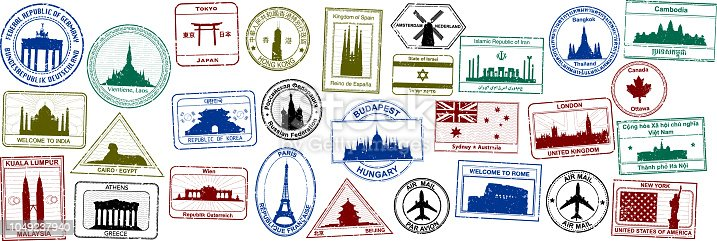 Passport stamps, invented by me.