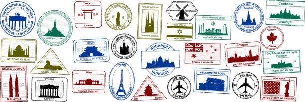 ilustraciones, imágenes clip art, dibujos animados e iconos de stock de pasaporte sellos - viaje a áfrica