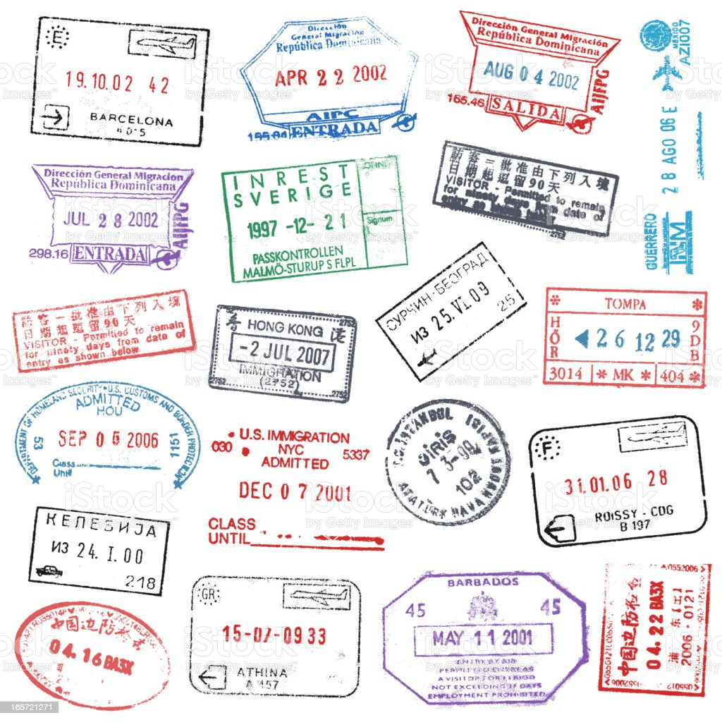 Passport Stamps royalty-free passport stamps stock vector art & more images of grunge image technique