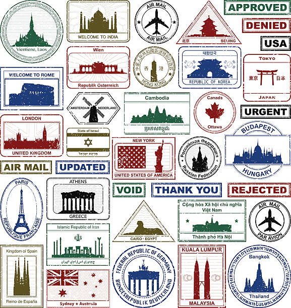 passport stamps - africa travel stock illustrations, clip art, cartoons, & icons