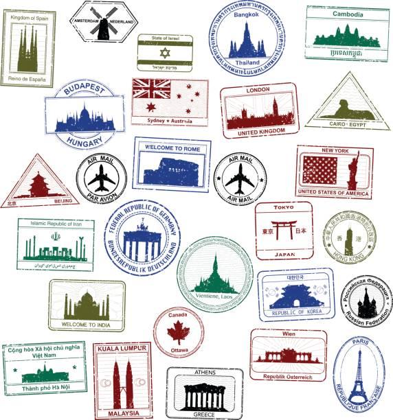 パスポートスタンプ - パスポート/査証点のイラスト素材/クリップアート素材/マンガ素材/アイコン素材
