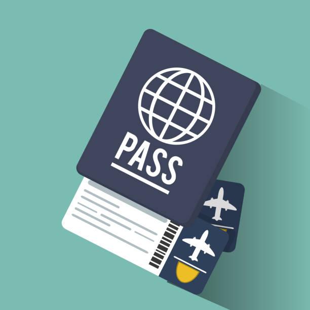 vacaciones de pasaporte boletos aéreos - ilustración de arte vectorial