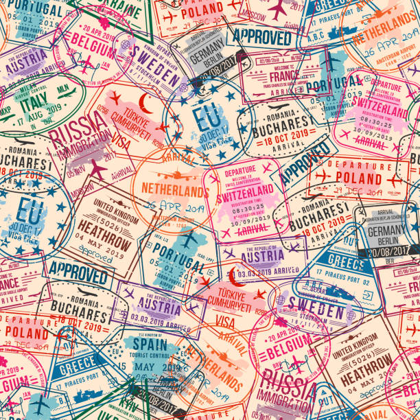 Passport visa stamps, seamless pattern. International and immigration office rubber stamps. Traveling concept Passport visa stamps, seamless pattern. International and immigration office rubber stamps. Traveling and tourism concept, vintage background. Vector airport borders stock illustrations