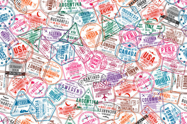 illustrazioni stock, clip art, cartoni animati e icone di tendenza di passport visa stamps, seamless pattern. international and immigration office rubber stamps. traveling and tourism concept background - travel