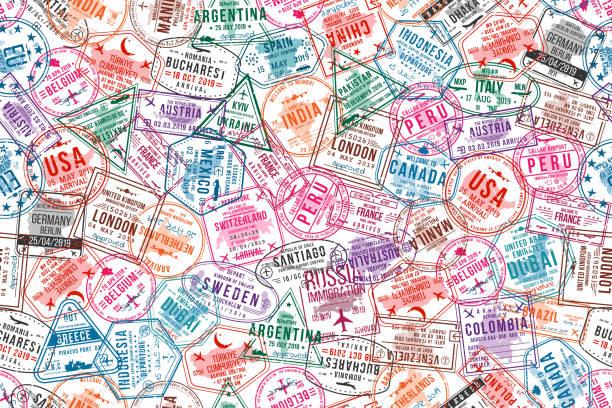여권 비자 우표, 완벽 한 패턴입니다. 국제, 이민 사무실 고무 우표입니다. 여행 및 관광 개념 배경 - travel stock illustrations