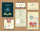 Passport wedding invitation theme set.   http://farm3.staticflickr.com/2847/12122629606_7b1dbe1cf5_o.jpg