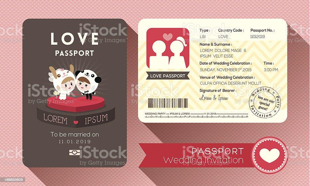 Passport Hochzeit Einladung – Vektorgrafik