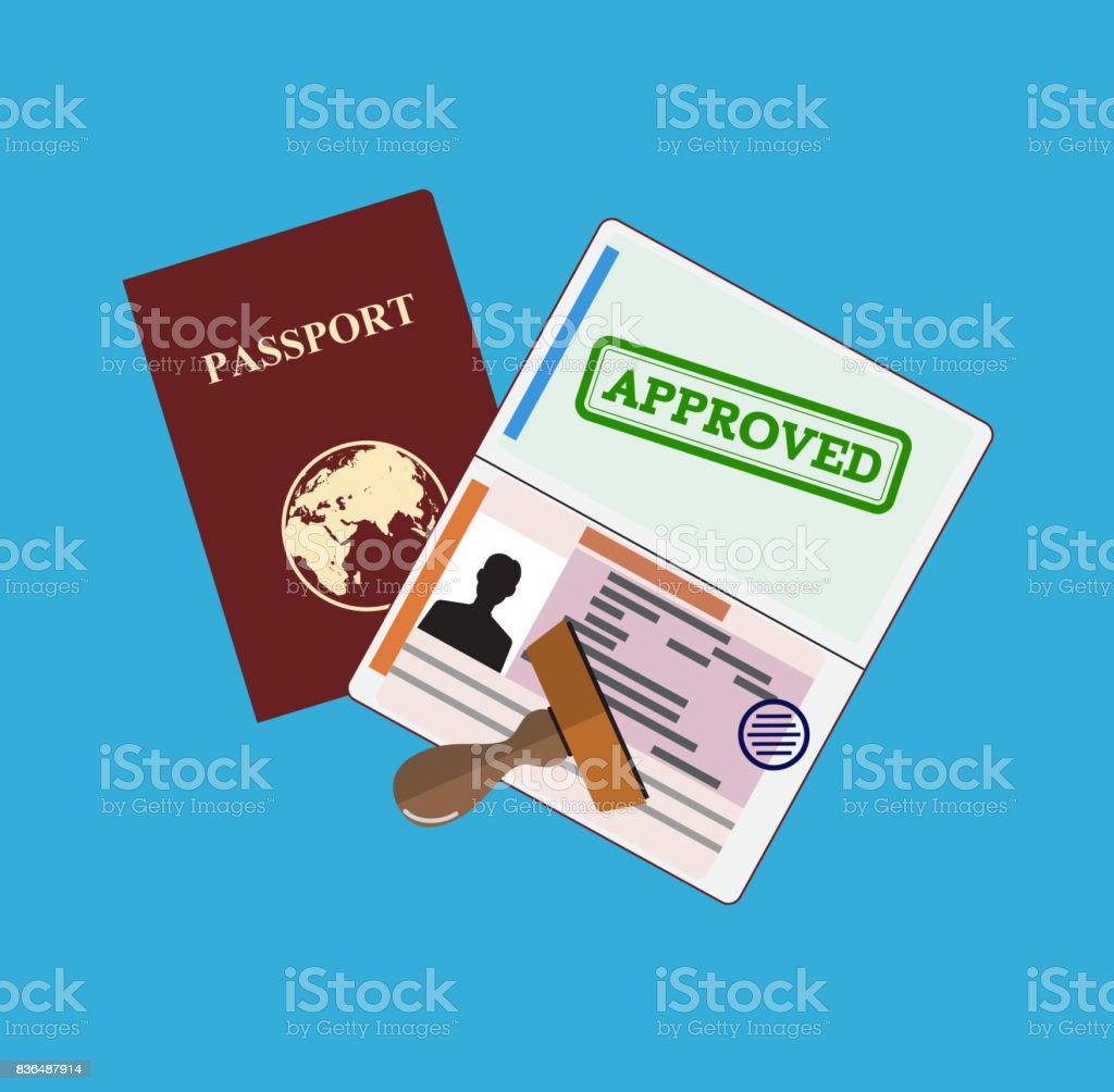 Passport with approved stamp. vector art illustration