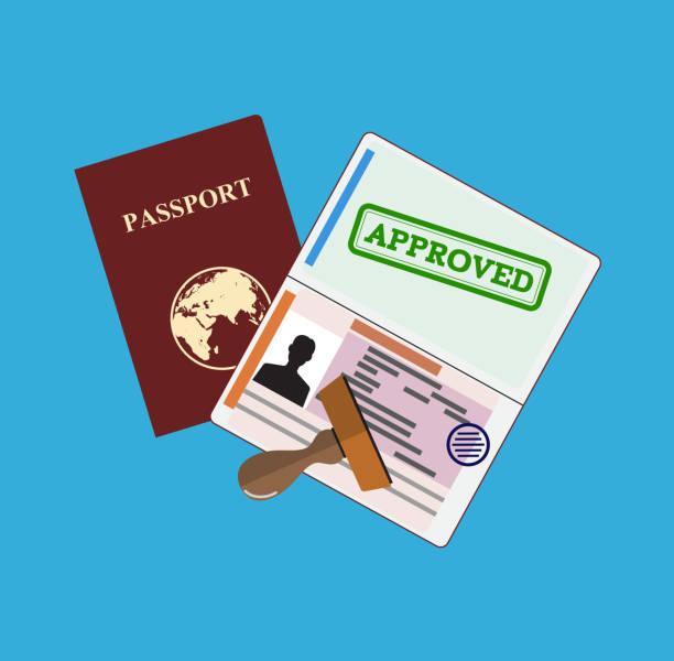 ilustrações, clipart, desenhos animados e ícones de passaporte com carimbo de aprovado. - passaporte e visto