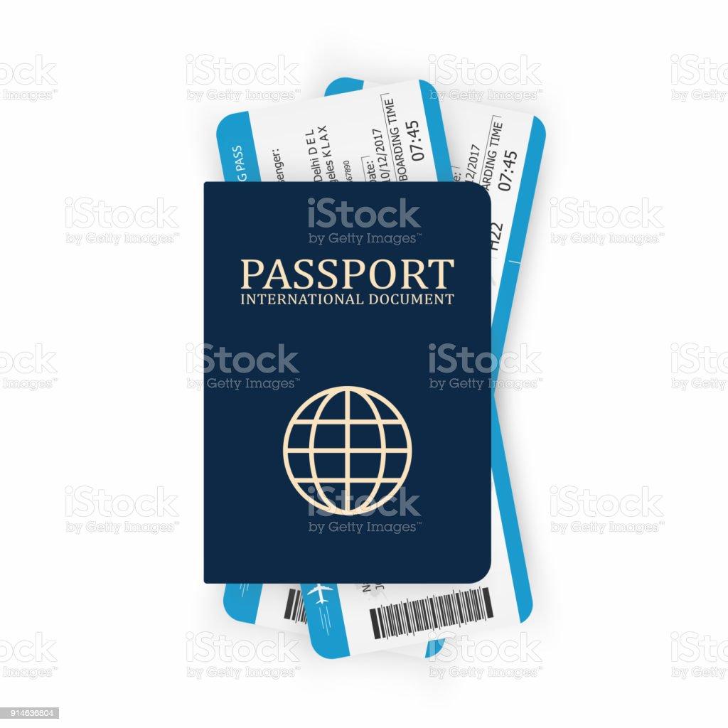 Pass med boardingkort. Två flygbiljetter inuti pass. Air travel koncept. Turism-konceptet vektorkonstillustration