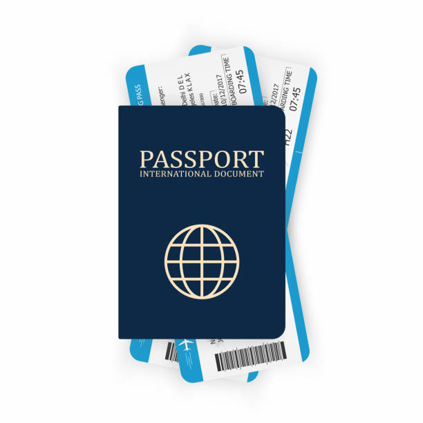 Passport with boarding pass. Two airplane tickets inside passport. Air travel concept. Tourism concept Passport with boarding pass. Two airplane tickets inside passport. Air travel concept. Tourism concept. Vector airport silhouettes stock illustrations