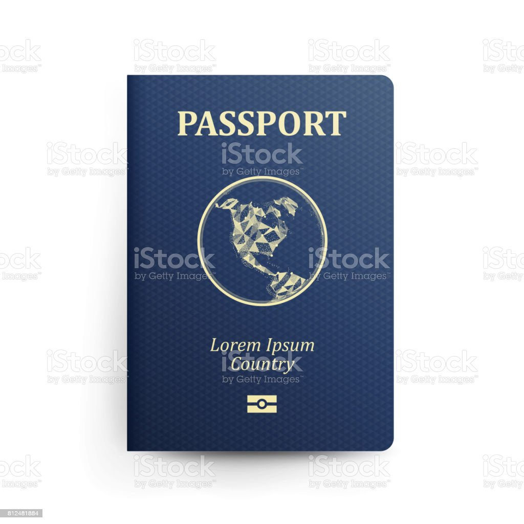 Passport With Map. Realistic Vector Illustration. Blue Passport With Globe. International Identification Document. Front Cover. Isolated vector art illustration