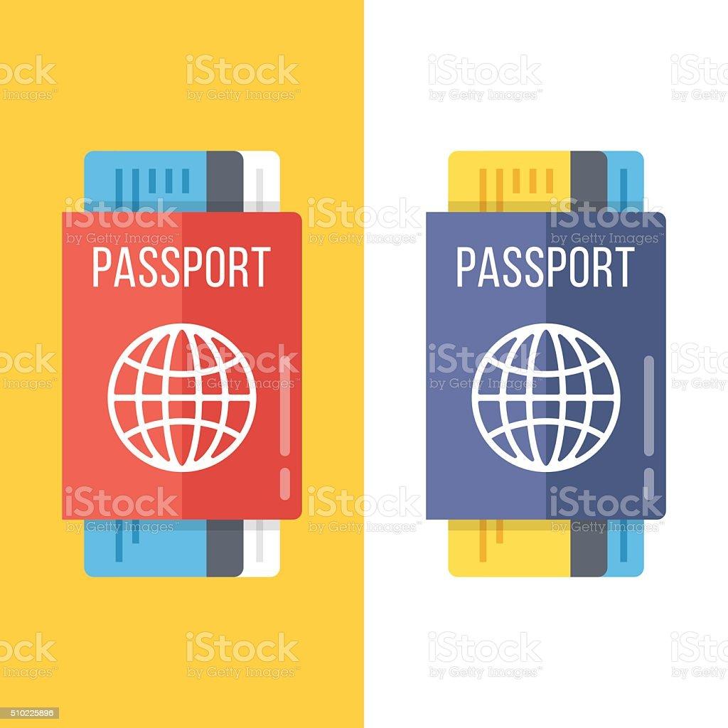Reisepässe Satz flach Illustrationen – Vektorgrafik
