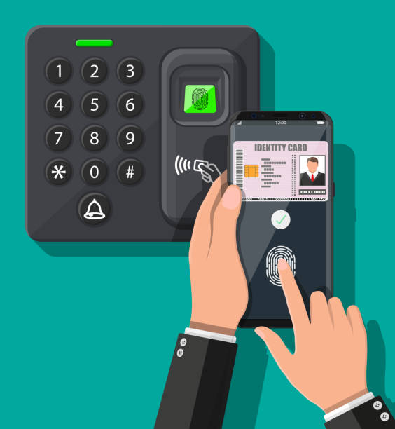 Passwort- und Fingerabdruck-Sicherheitsgerät mit Hand – Vektorgrafik