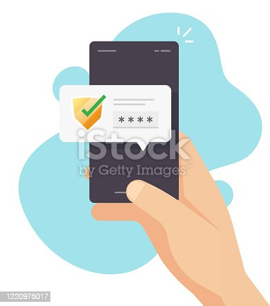 Password code verification security protection for authorization notice on mobile phone or digital secure access pus notification message on cellphone vector flat cartoon, smartphone authentication