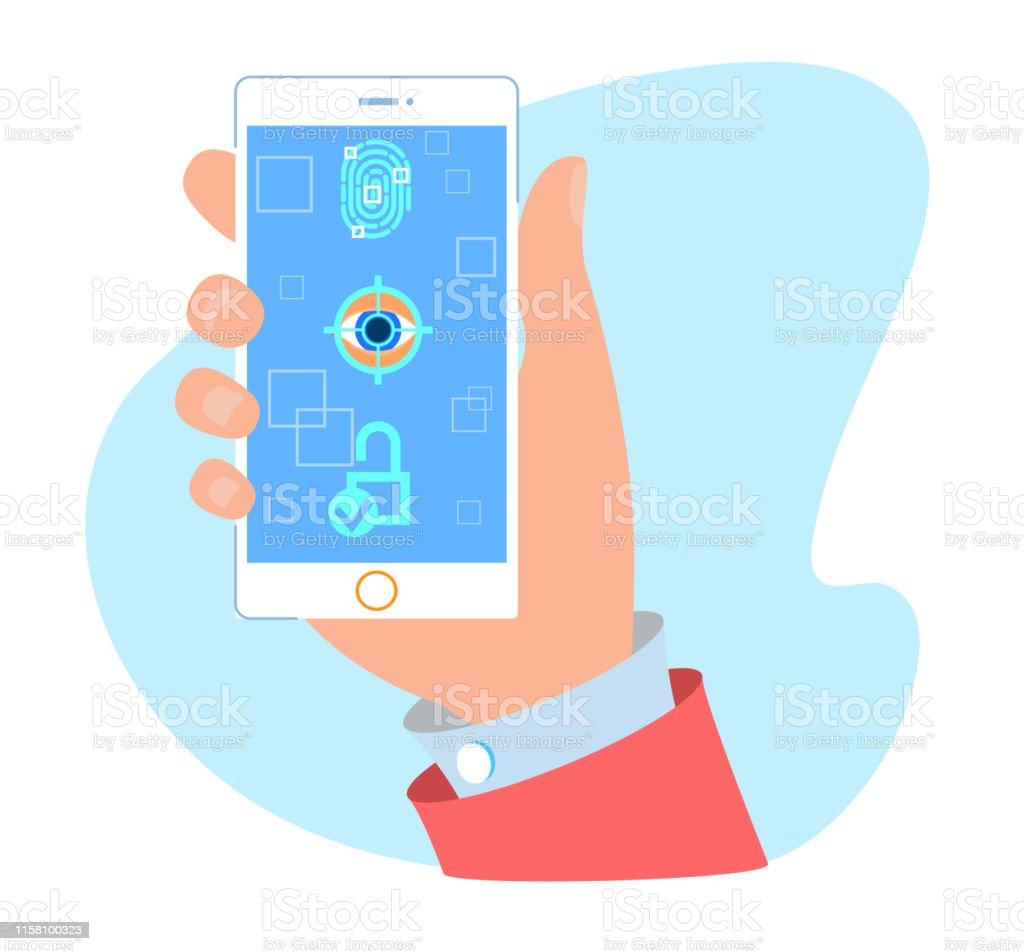 Password Fingerprint And Face Unlock Mobile App Stock Illustration