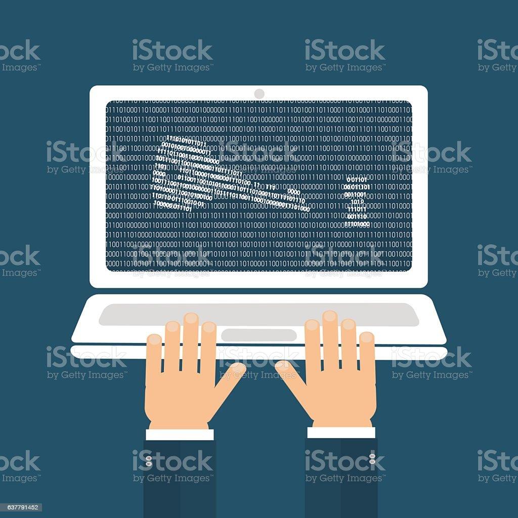 password hacker concept vector art illustration