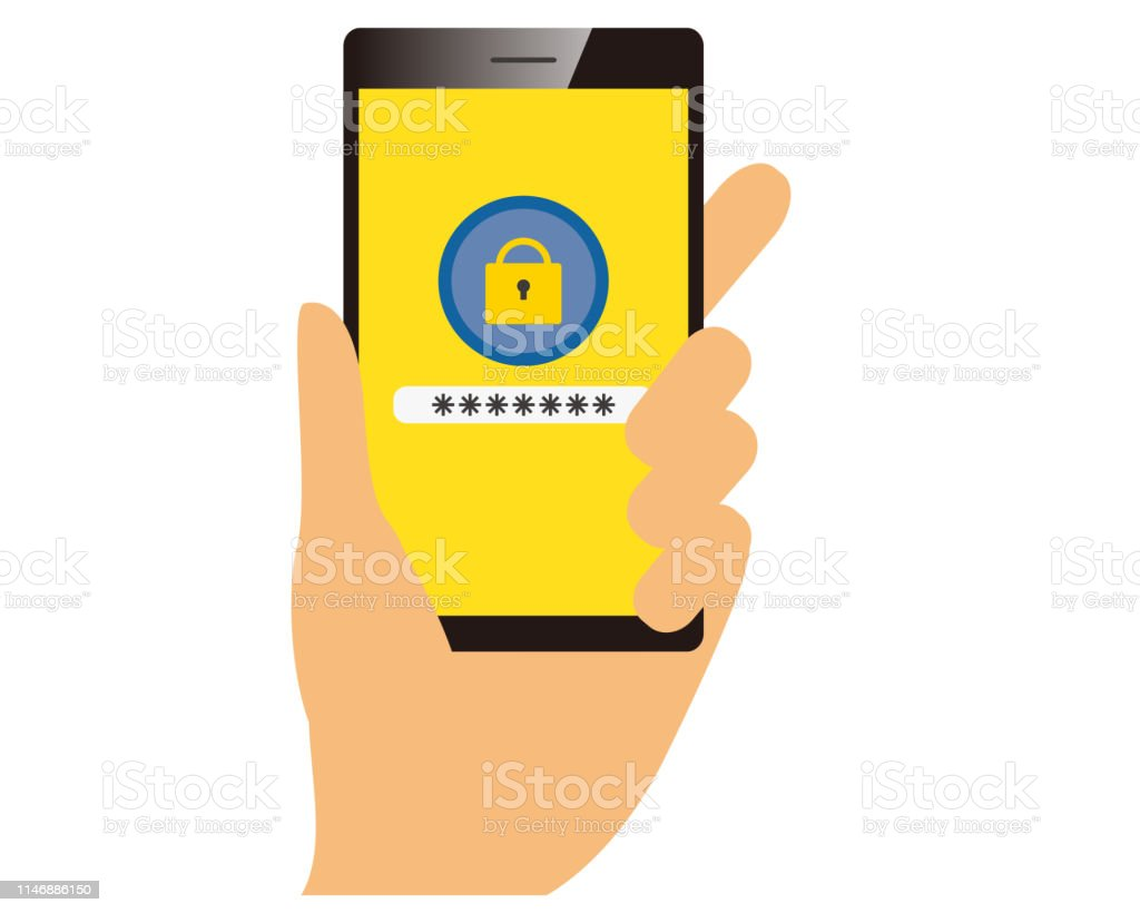Password On Smartphone Screen Unlocking Mobile Phone Enter