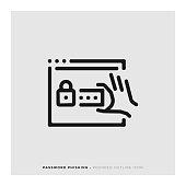 Password Phishing Rounded Line Icon