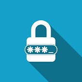 Password protection and safety access icon isolated with long shadow. Flat design. Vector Illustration