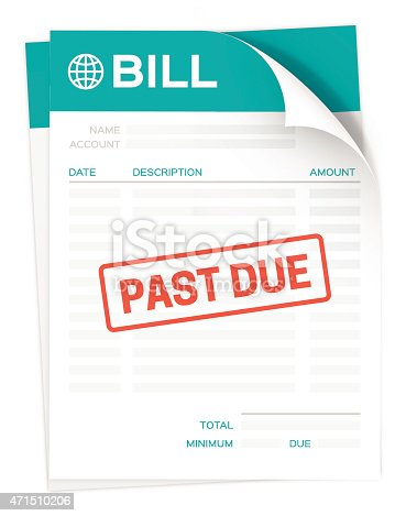 A paper bill for a credit card, tax, mortgage or other company invoice with a large past due stamp on it isolated on a white background. EPS 10 file. Transparency effects used on highlight elements.