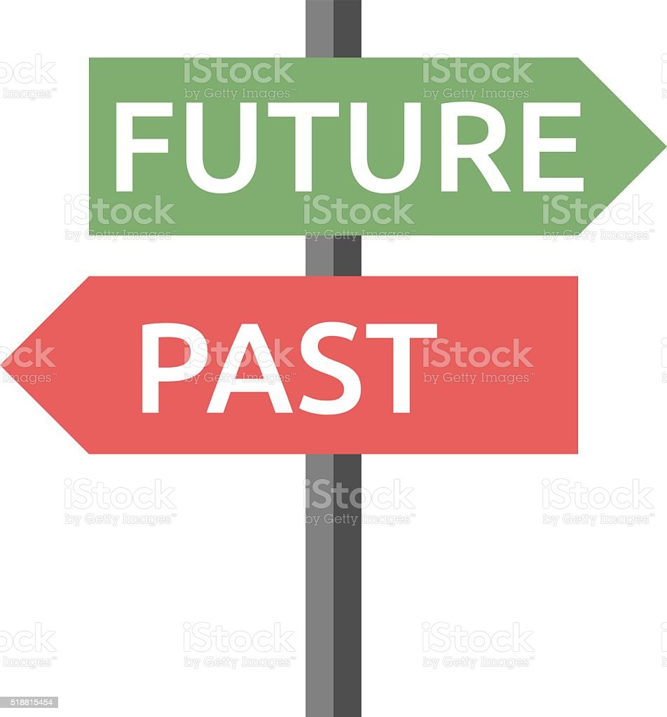 Past, future sign isolated vector art illustration