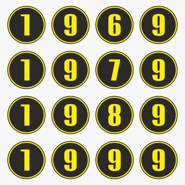 stockillustraties, clipart, cartoons en iconen met afgelopen jaren met gele getallen in een cirkel vorm, 1969, 1979, 1989, 1999 vector. - 1990 1999