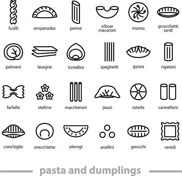 pasta and dumplings icons pasta and dumplings icons rotelle stock illustrations