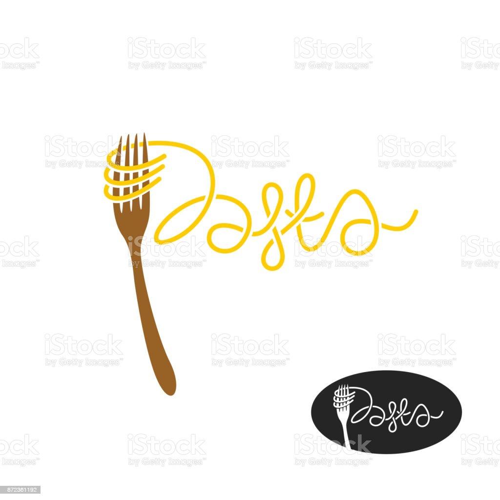 Pasta and fork symbol. Elegant pasta word with fork. - arte vettoriale royalty-free di Alimentazione sana