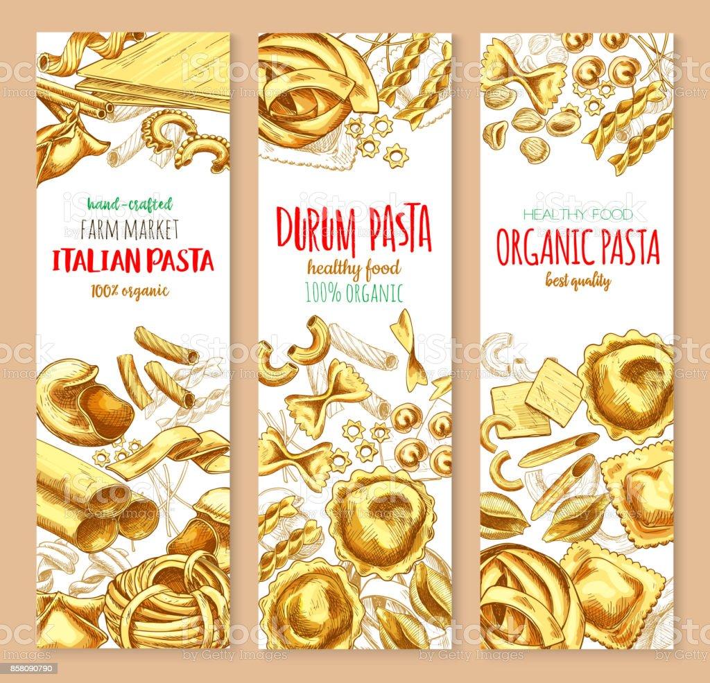 Pasta and Italian macaroni vector banners set vector art illustration