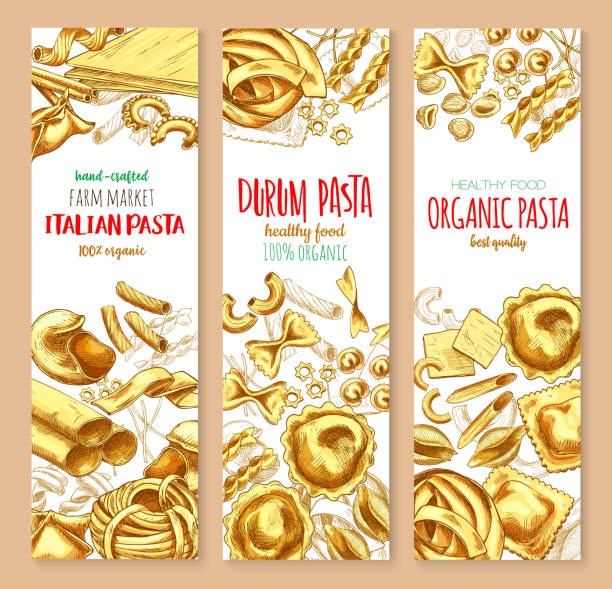 Pasta and Italian macaroni vector banners set Italian pasta banners for restaurant or farm market. Vector set of spaghetti, lasagna or fettuccine and ravioli, organic durum farfalle pasta, tagliatelle and konkiloni bucatini for healthy food canelones stock illustrations