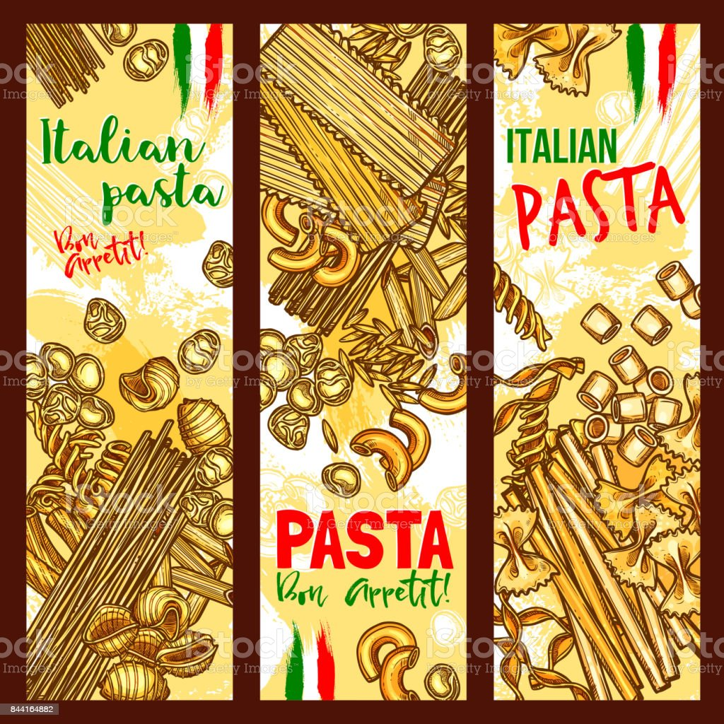 Pasta and Italian macaroni vector banners vector art illustration