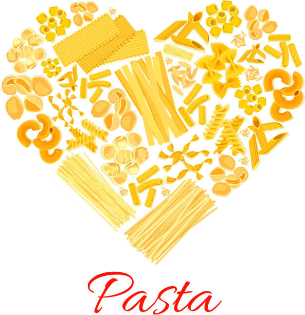Pasta and Italian macaroni vector heart poster Pasta heart symbol of macaroni and spaghetti. Italian cuisine poster of vector penne and lasagna or tagliatelli and ravioli, farfalle pappardelle, konkiloni bucatini and tortiglioni creste di gallo canelones stock illustrations