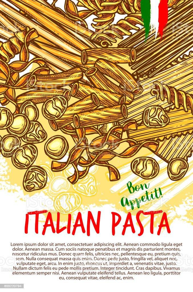 Pasta and Italian macaroni vector poster vector art illustration