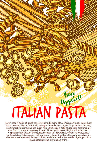 Pasta and Italian macaroni vector poster Italian pasta poster of spaghetti, lasagna or fettuccine and ravioli, farfalle or tagliatelle and pappardelle, funghetto pasta or konkiloni and gobeti. Vector bon appetit sketch for Italy cuisine canelones stock illustrations