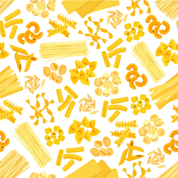Pasta and Italian macaroni vector seamless pattern Pasta seamless pattern of spaghetti, lasagna or tagliatelli and ravioli. Italian cuisine macaroni farfalle or pappardelle, penne and fettuccine or konkiloni bucatini and tortiglioni creste di gallo canelones stock illustrations