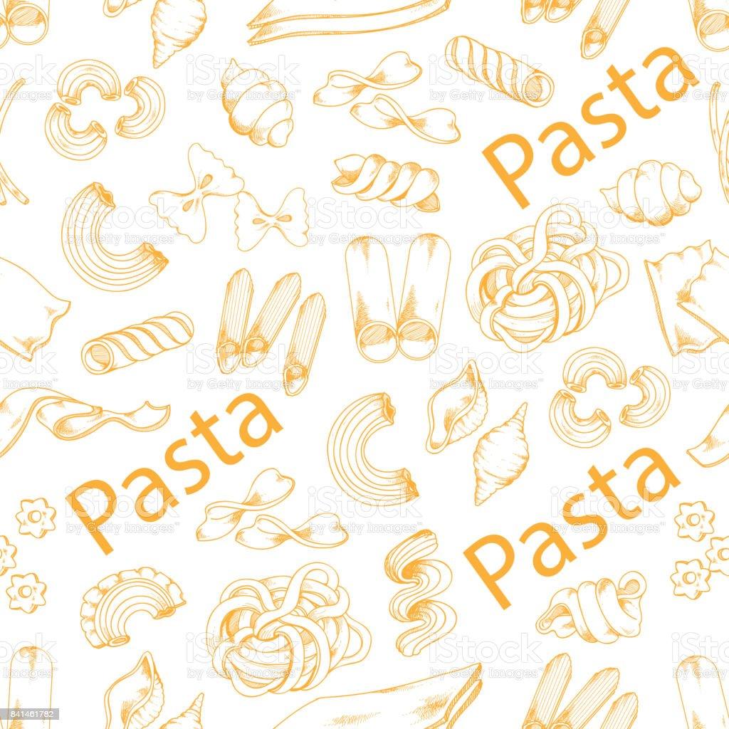 Pasta and Italian macaroni vector seamless pattern vector art illustration