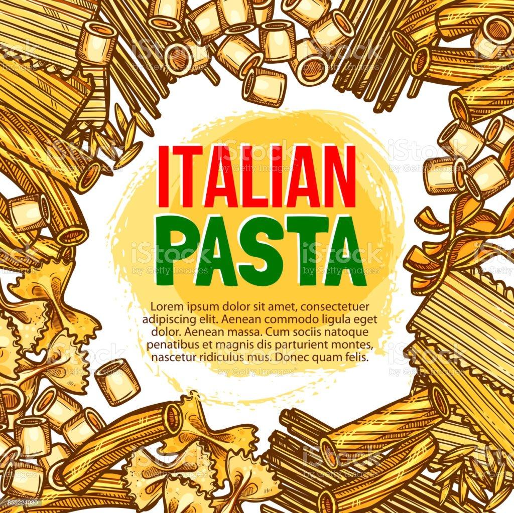 Pasta and Italian macaroni vector sketch poster vector art illustration