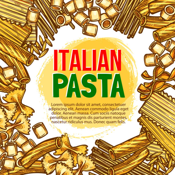 Pasta and Italian macaroni vector sketch poster Italian pasta sketch poster template for Italy cuisine restaurant. Vector spaghetti, fettuccine or farfalle and tagliatelle, hand crafted durum ravioli or pappardelle and funghetto pasta or konkiloni canelones stock illustrations