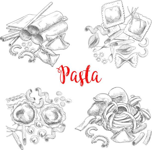 Pasta and Italian macaroni vector sketch Pasta vector sketch of macaroni and spaghetti, penne and lasagna or traditional tagliatelli and ravioli. Italian cuisine fettuccine or farfalle and pappardelle, konkiloni bucatini and tortiglioni conchiglie stock illustrations