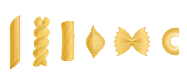 Pasta and macaroni isolated design elements set Pasta and macaroni set, dry penne, fusilli, rigatoni, conchiglie, farfalle, chiferri isolated on white background, design elements for food advertising Realistic 3d vector illustration, icon, clip art penne stock illustrations