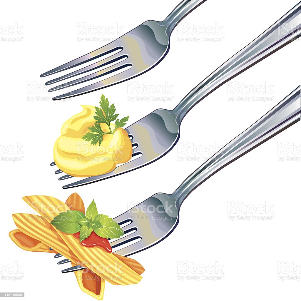 Pasta and mashed potatoes on fork vector art illustration