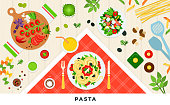 Pasta and ravioli cooking and ingredients. Spaghetti dishes isolated on white. Vector illustration.